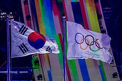 09-02-2018 KOR: Olympic Games day -1, PyeongChang<br /> Openingsceremonie Pyeongchang 2018 Olympic Winter Games / Olympische vlag en van Korea