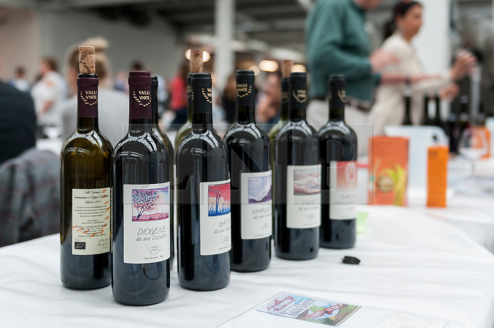 © Licensed to London News Pictures. 16/05/2016. London, UK. Wine available to sample.  Buyers and wine lovers visit the Raw Wine Fair at the Old Truman Brewery near Brick Lane.  The fair brings over 180 artisan growers and wine makers from around the world who specialise in producing organic, biodynamic and naturally made wines with minimal additives. Photo credit : Stephen Chung/LNP