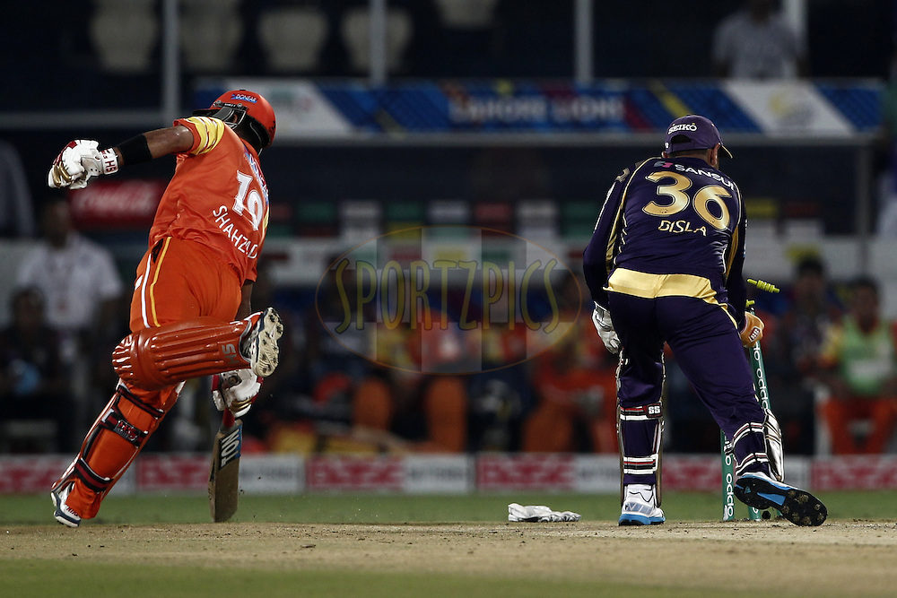 Manvinder Bisla of the Kolkata Knight Riders stamping during match 7 of the Oppo Champions League Twenty20 between the Kolkata Knight Riders and the Lahore Lions held at the Rajiv Gandhi Cricket Stadium, Hyderabad, India on the 21st September 2014<br /> <br /> Photo by:  Deepak Malik / Sportzpics/ CLT20<br /> <br /> <br /> Image use is subject to the terms and conditions as laid out by the BCCI/ CLT20.  The terms and conditions can be downloaded here:<br /> <br /> http://sportzpics.photoshelter.com/gallery/CLT20-Image-Terms-and-Conditions-2014/G0000IfNJn535VPU/C0000QhhKadWcjYs