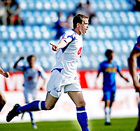 Fotball , <br /> Adeccoligaen , <br /> 13.07.08 , <br /> Komplett.no stadion , <br /> Sandefjord - FK Haugesund , <br /> Camron Weaver jubler etter 1-0 scoring for Haugesund , <br /> Foto: Thomas Andersen / Digitalsport