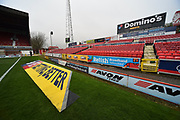 Advertising boards and SkyBET 3D mat at the away end at The County Ground before the EFL Sky Bet League 2 match between Swindon Town and Yeovil Town at the County Ground, Swindon, England on 10 April 2018. Picture by Graham Hunt.