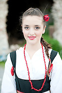 Brodsko kolo, Slavonski Brod, Croatia (9 June 2013). Young girl from Korcula in traditional folk costume. The Brodsko kolo, now in its 49th year, is the oldest folk dancing festival in Croatia.