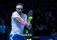 Tennis - 2019 Nitto ATP Finals at The O2 - Day Two<br /> <br /> Singles Group Andre Agassi: Rafael Nadal (Spain) Vs. Alexander Zverev (Germany)<br /> <br /> Rafael Nadal (Spain) returns the shot with a backhand<br /> <br /> COLORSPORT/DANIEL BEARHAM<br /> <br /> COLORSPORT/DANIEL BEARHAM