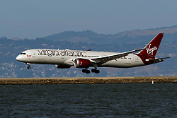 Boeing 787-9 Dreamliner (G-VWOO) operated by Virgin Atlantic landing at San Francisco International Airport (KSFO), San Francisco, California, United States of America