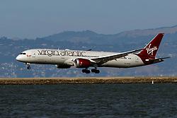 Boeing 787-9 Dreamliner (G-VWOO) operated by Virgin Atlantic landing at San Francisco International Airport (KSFO), San Francisco, California, United States of America