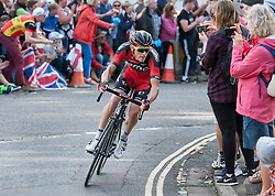 © Licensed to London News Pictures. 10/09/2016. Bristol, UK. The Tour of Britain cycle race 2016. Picture of ROHAN DENNIS in the lead on his way to win Stage 7b and now second overall behind Steve Cummings. Photo credit : Simon Chapman/LNP