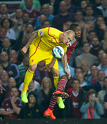 LONDON, ENGLAND - Saturday, September 20, 2014: Liverpool's Martin Skrtel in action against West Ham United during the Premier League match at Upton Park. (Pic by David Rawcliffe/Propaganda)