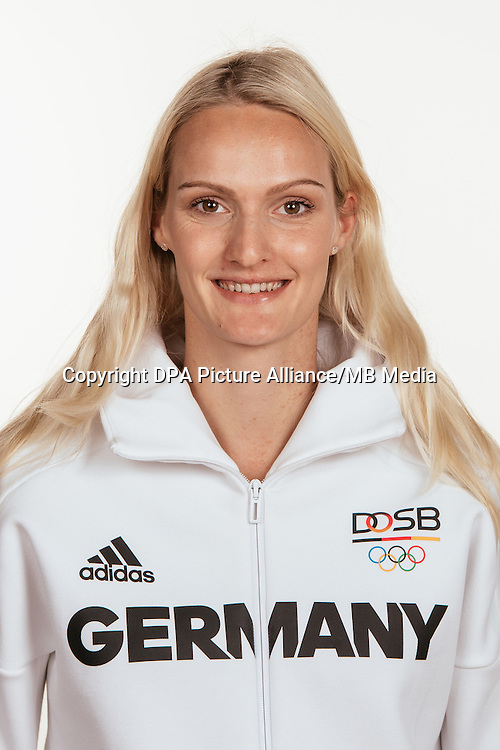 Jenny Elbe poses at a photocall during the preparations for the Olympic Games in Rio at the Emmich Cambrai Barracks in Hanover, Germany, taken on 14/07/16 | usage worldwide