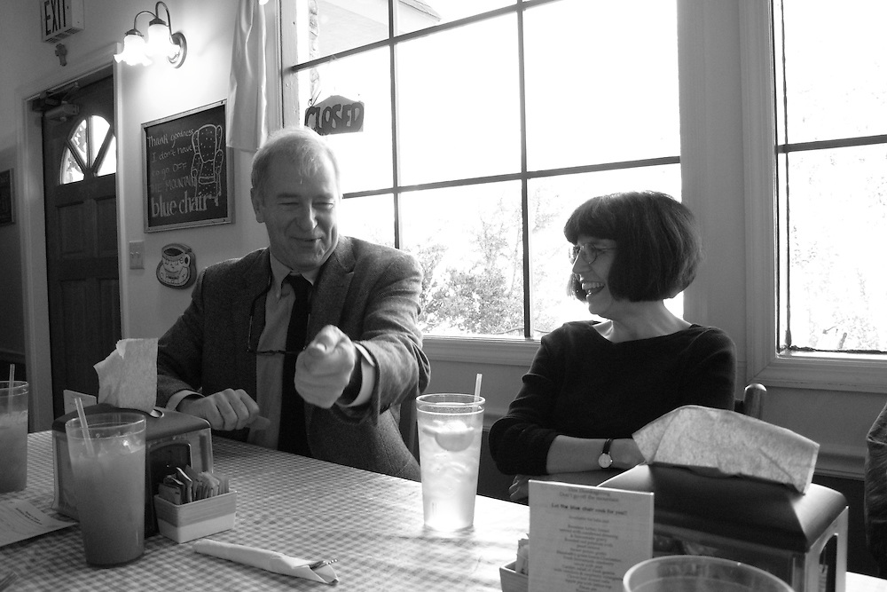 Wyatt Prunty (poet, critic, and director of the Sewanee Writers' Conference) and Debora Greger (poet at the University of Florida) at a cafe in Sewanee, Tennessee.