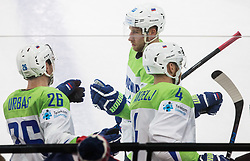 Jan Urbas of Slovenia and Robert Sabolic of Slovenia during the 2017 IIHF Men's World Championship group B Ice hockey match between National Teams of Slovenia and Norway, on May 9, 2017 in Accorhotels Arena in Paris, France. Photo by Vid Ponikvar / Sportida