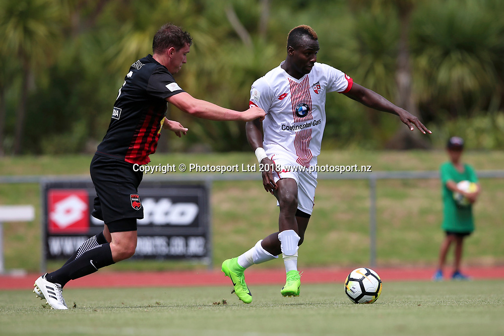 Waitakere United's Horace James in action. ISPS Handa Premiership, Waitakere United v Canterbury United Dragons, Trusts Stadium, Auckland, Sunday 14th January 2018. Copyright Photo: David Joseph