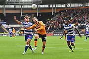 Reading FC player John Swift (10) and Hull City player Jarrod Bowen (20) during the EFL Sky Bet Championship match between Hull City and Reading at the KCOM Stadium, Kingston upon Hull, England on 10 August 2019.