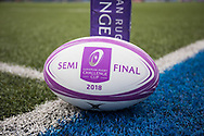 A general view of Cardiff Arms Park, home of Cardiff Blues match ball<br /> <br /> Photographer Simon King/Replay Images<br /> <br /> European Rugby Challenge Cup - Semi Final - Cardiff Blues v Pau - Saturday 21st April 2018 - Cardiff Arms Park - Cardiff<br /> <br /> World Copyright &copy; Replay Images . All rights reserved. info@replayimages.co.uk - http://replayimages.co.uk