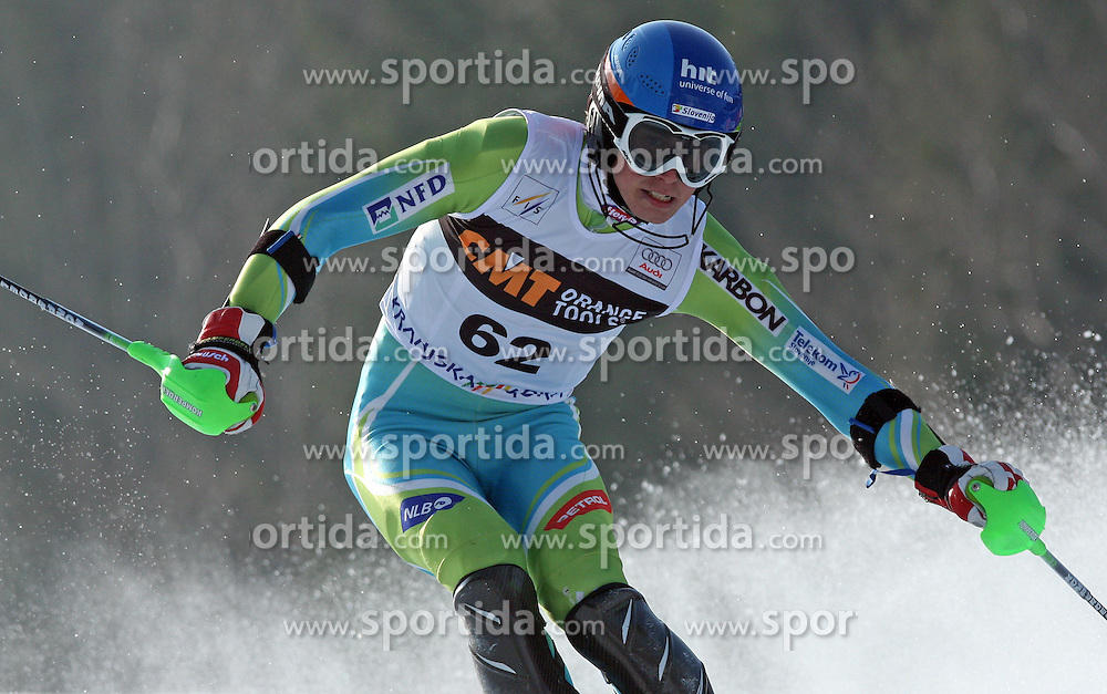 Matic Skube at first run of 9th men's slalom race of Audi FIS Ski World Cup, Pokal Vitranc,  in Podkoren, Kranjska Gora, Slovenia, on March 1, 2009. (Photo by Vid Ponikvar / Sportida)