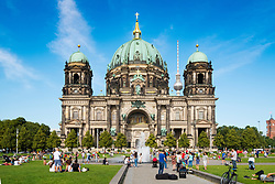 View of Berlin Cathedral (Berliner Dom) and Lustgarten square in summer in Mitte, Berlin, Germany