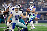 ARLINGTON, TX - OCTOBER 14:  Dak Prescott #4 of the Dallas Cowboys looks downfield for a receiver during a game against the Jacksonville Jaguars at AT&T Stadium on October 14, 2018 in Arlington, Texas.  The Cowboys defeated the Jaguars 40-7.  (Photo by Wesley Hitt/Getty Images) *** Local Caption *** Dak Prescott
