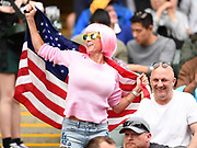 A USA fan celebrates a try during the Cathay Pacific/HSBC Hong Kong Sevens festival at the Hong Kong Stadium, So Kon Po, Hong Kong. on 7/04/2018. Picture by Ian  Muir.