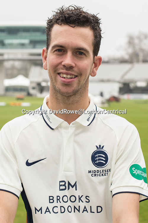 11 April 2018, London, UK.  Nathan Sowter of Middlesex County Cricket Club in the County Championship white kit .