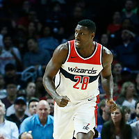 09 December 2017: Washington Wizards center Ian Mahinmi (28) reacts during the LA Clippers 113-112 victory over the Washington Wizards, at the Staples Center, Los Angeles, California, USA.