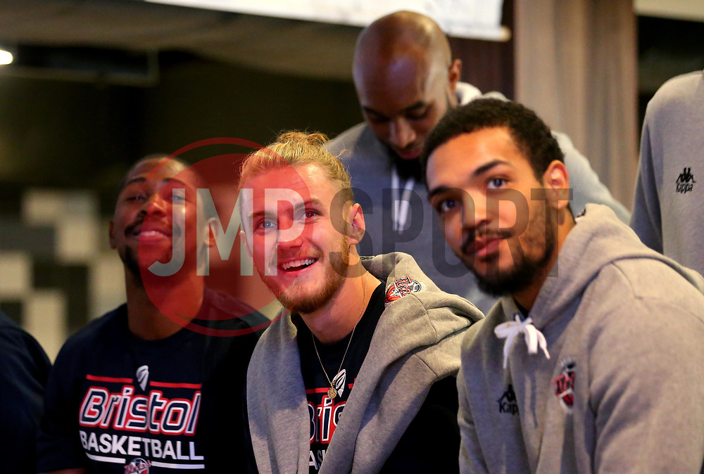 Brandon Boggs, Jordan Nichols, Rohndell Goodwin and Adam Weary of Bristol Flyers take part in the 2017/18 season launch event at Ashton Gate - Mandatory by-line: Robbie Stephenson/JMP - 11/09/2017 - BASKETBALL - Ashton Gate - Bristol, England - Bristol Flyers 2017/18 Season Launch