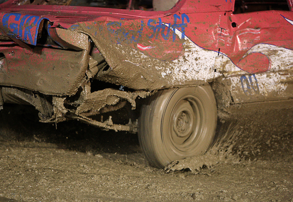 Taylor drives in her first demolition derby at the Lake County Fair in Crown Point on Saturday August, 13, 2011.