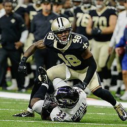 Aug 31, 2017; New Orleans, LA, USA; New Orleans Saints safety Vonn Bell (48) celebrates after tackling Baltimore Ravens running back Taquan Mizzell (33)  during the first half of a preseason game at the Mercedes-Benz Superdome. Mandatory Credit: Derick E. Hingle-USA TODAY Sports