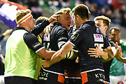 Try scorer Dougie Fife is congratulated by team mates during the Guinness Pro 14 2018_19 match between Edinburgh Rugby and Benetton Treviso at Murrayfield Stadium, Edinburgh, Scotland on 28 September 2018.