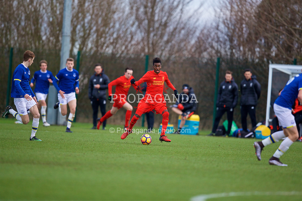HALEWOOD, ENGLAND - Saturday, January 14, 2017: Liverpool's Rafael Camacho in action against Everton during an Under-18 FA Premier League match at Finch Farm. (Pic by David Rawcliffe/Propaganda)