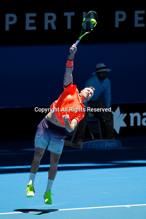 03.01.2017. Perth Arena, Perth, Australia. Mastercard Hopman Cup International Tennis tournament. Jack Sock (USA) serves during his match against Feliciano Lopez (ESP). Sock Won 3-6, 6-2, 6-3.