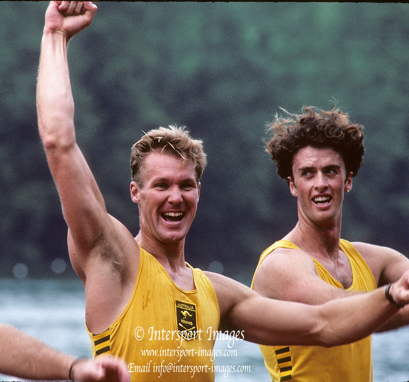 Lucerne, SWITZERLAND. AUS M4- right, Nick GREEN, Mike McKAY, 1992 FISA World Cup Regatta, Lucerne. Lake Rotsee.  [Mandatory Credit: Peter Spurrier: Intersport Images] 1992 Lucerne International Regatta and World Cup, Switzerland