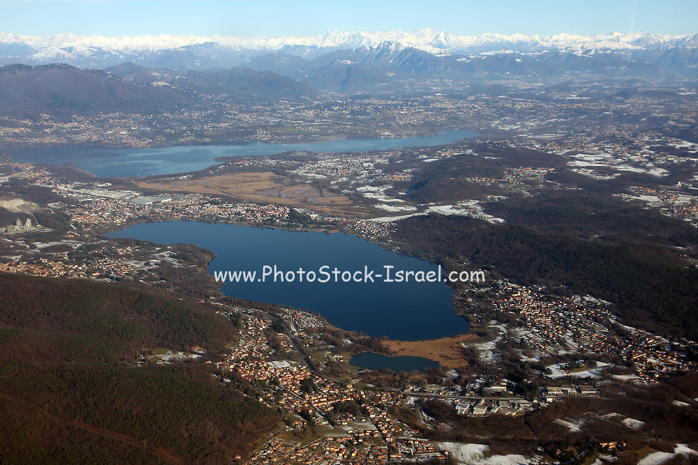 Aerial view of the lakes in Northern Italy