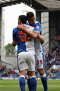 Blackburn Rovers&rsquo; Rudy Gestede celebrates scoring his teams 2nd goal with teammate Blackburn Rovers&rsquo; Craig Conway. Skybet football league championship match, Blackburn Rovers v Wigan Athletic at Ewood Park in Blackburn, England on Saturday 3rd May 2014.<br /> pic by Chris Stading, Andrew Orchard sports photography.