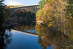The French King Bridge spans the Connecticut River in Erving, Massachusetts.  Route 2 - Mohawk Highway. Fall.  Confluence of Millers River.