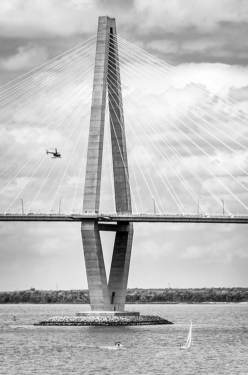 Architectural compositions of the Arthur Ravenel Bridge, which spans the Cooper River, connecting Charleston to Mt. Pleasant, South Carolina.