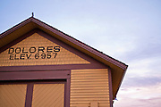 Elevation sign at the historic train depot, Dolores, Colorado