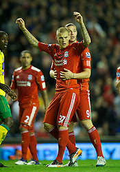 22.10.2011, Anfield Stadion, Liverpool, ENG, PL, FC Liverpool - Norwich City, im Bild Liverpool's Martin Skrtel and Andy Carroll in action against Norwich City during the Premiership match at Anfield // during the Premier League football match between FC Liverpool - Norwich City, at Anfield Stadium, Liverpool, United Kingdom on 22/10/2011. EXPA Pictures © 2011, PhotoCredit: EXPA/ Propaganda Photo/ David Rawcliff +++++ ATTENTION - OUT OF ENGLAND/GBR+++++
