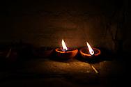 Burning oil lamps for Diwali