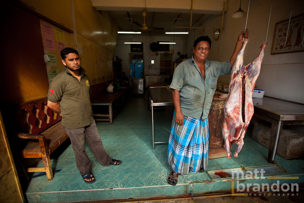 This is the other photo of my new friend the Butcher of Little India. A halal butcher just up the road from the Hindu temple. Penang is a fun mix of cultures.