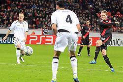 19.10.2011, BayArena, Leverkusen, GER, UEFA CL, Gruppe E, Bayer Leverkusen (GER) vs Valencia CF (ESP), im Bild.Torschuss zum 1:1 von Andre Schürrle (Leverkusen #9)..// during the UEFA CL, group E, Bayer 04 Leverkusen (GER) vs Valencia CF (ESP) on 2011/10/19, at BayArena, Leverkusen, Germany. EXPA Pictures © 2011, PhotoCredit: EXPA/ nph/  Mueller       ****** out of GER / CRO  / BEL ******