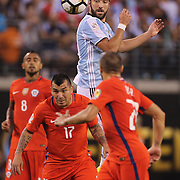EAST RUTHERFORD, NEW JERSEY - JUNE 26:  Gonzalo Higuain #9 of Argentina wins a header during the Argentina Vs Chile Final match of the Copa America Centenario USA 2016 Tournament at MetLife Stadium on June 26, 2016 in East Rutherford, New Jersey. (Photo by Tim Clayton/Corbis via Getty Images)