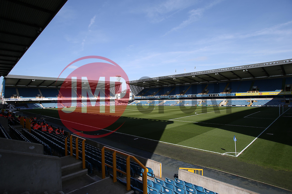 The Den bathed in sunlight before the derby between Millwall and Charlton - Photo mandatory by-line: Robin White/JMP - Tel: Mobile: 07966 386802 15/03/2014 - SPORT - FOOTBALL - The Den - Millwall - Millwall v Charlton Athletic - Sky Bet Championship