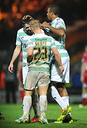 Yeovil Town's Simon Gillett celebrates Yeovil's 2 - 0 win against Accrington Stanley - Photo mandatory by-line: Dougie Allward/JMP - Mobile: 07966 386802 - 16/12/2014 - SPORT - football - Yeovil - Huish Park - Yeovil Town v Accrington Stanley - FA Cup