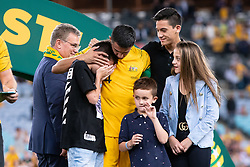 November 20, 2018 - Sydney, NSW, U.S. - SYDNEY, AUSTRALIA - NOVEMBER 20: An emotional Australian forward Tim Cahill (4) with his family after his last game at the international soccer match between Australia and Lebanon on November 20, 2018, at ANZ Stadium in NSW, Australia. (Photo by Speed Media/Icon Sportswire) (Credit Image: © Speed Media/Icon SMI via ZUMA Press)