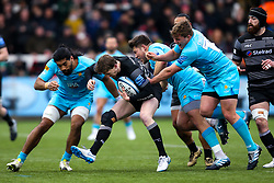 Simon Hammersley of Newcastle Falcons is tackled by Michael Fatialofa, Ethan Waller and Jack Singleton of Worcester Warriors - Mandatory by-line: Robbie Stephenson/JMP - 03/03/2019 - RUGBY - Kingston Park - Newcastle upon Tyne, England - Newcastle Falcons v Worcester Warriors - Gallagher Premiership Rugby