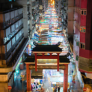Elevated view of Temple Street night market, Hong Kong