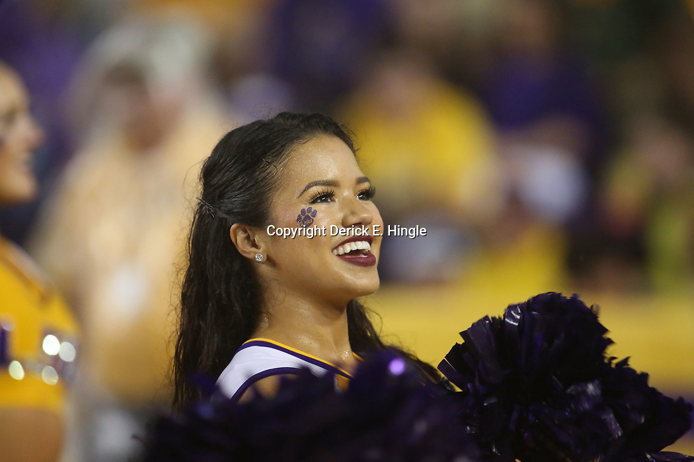 Sep 29, 2018; Baton Rouge, LA, USA; A LSU Tigers cheerleader during the second half of a game against the Mississippi Rebels at Tiger Stadium. Mandatory Credit: Derick E. Hingle-USA TODAY Sports