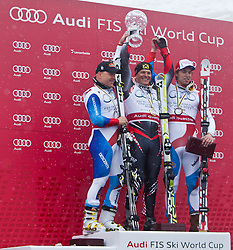 19.03.2011, Pista Silvano Beltrametti, Lenzerheide, SUI, FIS Ski Worldcup, Finale, Lenzerheide, Podium, im Bild Didier Cuche (SUI), Gesamtweltcup Sieger, Ivica Kostelic (CRO), Carlo Janka (SUI) // Overall Weltcup Winner, Men, Ivica Kostelic (CRO) during Men´s Downhill, at Pista Silvano Beltrametti, in Lenzerheide, Switzerland, 19/03/2011, EXPA Pictures © 2011, PhotoCredit: EXPA/ J. Feichter