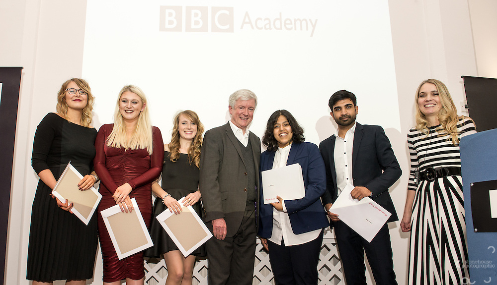 BBC DG Tony Hall and NCTJ Chief Executive Joanne Butcher percent certificates to students at the BBC Academy Local Apprenticeship Scheme Awards 2016 at The Custard Factory, Old Library, Birmingham, 24th, February.2016<br /> <br /> Kamran Ellahi, Karson Browne, Katherine Ganczakowski,Khadija Osman, Lauren Page, Lesley Ross, Libby Merry.