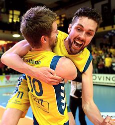 12-04-2014 NED: Finale Landstede Volleybal - Draisma Dynamo, Zwolle<br /> Landstede Volleybal pakt het kampioenschap door Dynamo met 3-0 te verslaan /  Vreugde bij Steven Eertman en Willem Maarten Heins