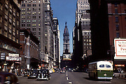 Broad Street in Philadelphia Pennslyvania, 1947.  This photo shows the intersection of Broad Street Locust Street looking north to the Philadelphia City Hall.  Visible in the photo is the Shubert Theatre and Philadelphia's theater district.  .The Shubert Theatre was built in 1918 and was acquired by Academy of Music in 1972 and refurbished and renamed as the Merriam Theater.  The Philadelphia City Hall is the world's tallest masonry building and was once the tallest habitable building in the world.